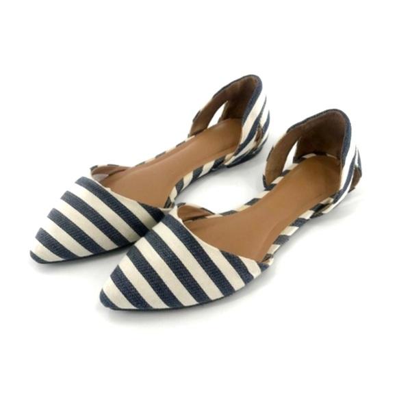 a58c19aaf Merona Shoes | Target Blue White Stripe Dorsay Flats | Poshmark